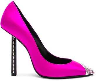 Saint Laurent Tower Crystal Embellished Satin Pumps in Flash Fuchsia | FWRD