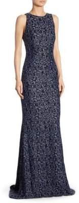 Carmen Marc Valvo Swirl Lace Gown