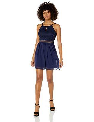 Amy Byer A. Byer Lace-to-Chiffon Party Dress with Peek-a-Boo Waist (Junior's)