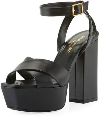 Saint Laurent Farrah Leather Chunky-Heel Platform Sandals