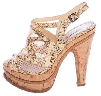 Alaia Snakeskin Slingback Sandals