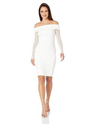 Calvin Klein Women's Petite Off The Shoulder Sheath with Illusion Sleeves Dress