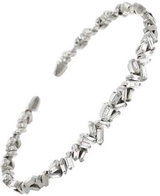 Suzanne Kalan Small Flexible Zig Zag White Diamond Firework Bangle Bracelet - White Gold