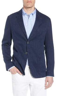 Bugatchi Regular Fit Herringbone Cotton & Linen Blazer