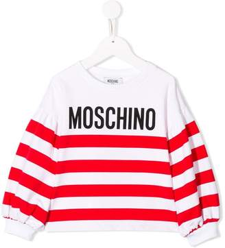 Moschino Kids TEEN logo striped sweatshirt