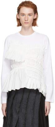Chika Kisada White Shirred Panel Long Sleeve T-Shirt