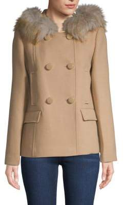 Kate Spade Faux Fur Trim Hooded Double-Breasted Coat