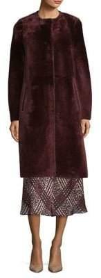 LK Bennett Fur Button-Front Coat