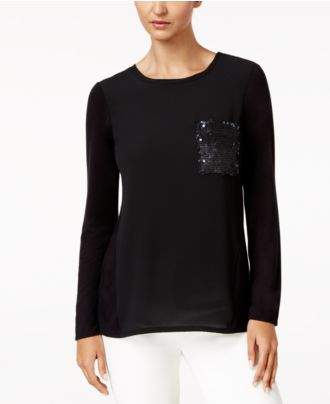 NY Collection Mixed-Media Sequin-Pocket Top