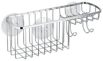 InterDesign Suction Bathroom Shower Caddy Combo Organizer Basket, Polished Stainless Steel