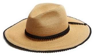 Filù Hats Filu Hats - Batu Tara Pompom Trimmed Straw Hat - Womens - Black Multi