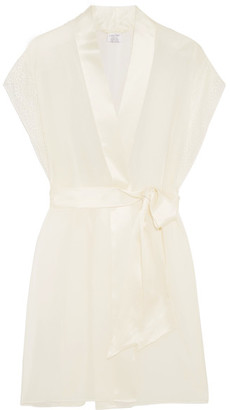 Endless Lace-trimmed Silk-satin Robe - Ivory