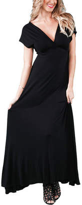 24/7 Comfort Apparel Faux Wrap Maxi Dress