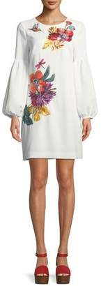 Trina Turk Floral Balloon-Sleeve Mini Dress