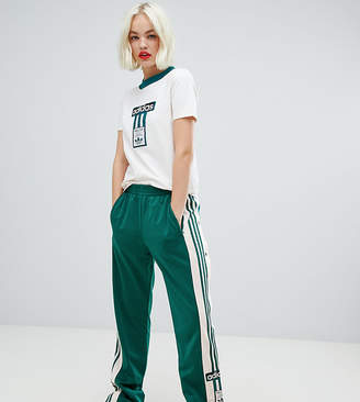 adidas Three Stripe Popper Pant With Vintage Logo In Green