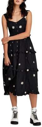Free People Daisy Chain Embroidered Ruffled Midi Dress