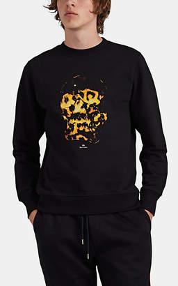 "Paul Smith Men's ""Fire Skull""-Print Organic Cotton Sweatshirt - Black"