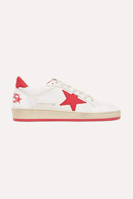 Golden Goose Ball Star Distressed Leather Sneakers - White