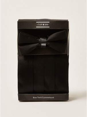 Topman Mens Black Bow Tie With Cummerbund Set