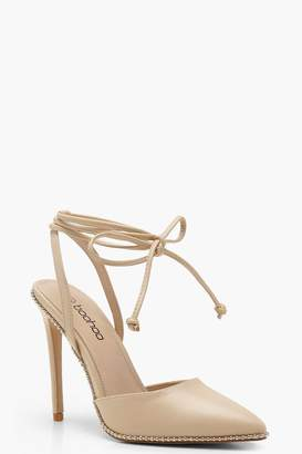 boohoo Pointed Toe Wrap Strap Studded Heels