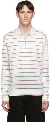 Paul Smith White Stripe Zip Long Sleeve Polo