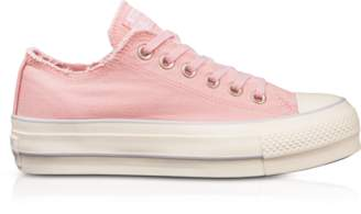 Converse Limited Edition Chuck Taylor All Star High Blossom Pink Textured Canvas Flatform Sneakers