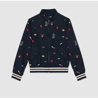Gucci Embroidered cotton bomber jacket