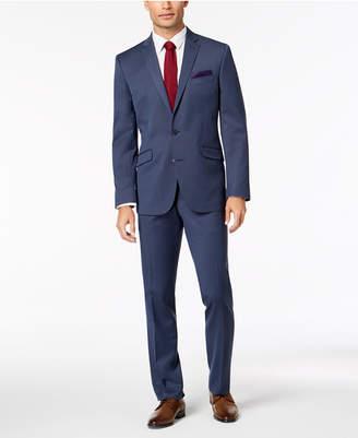 Kenneth Cole Reaction Men's Big & Tall Slim-Fit Techni-Cole Stretch Denim Blue Solid Suit