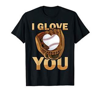 Baseball Catcher & Outfielder Glove Love Heart Ball Team T-Shirt