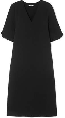 Ganni Clark Ruffle-trimmed Crepe Midi Dress - Black