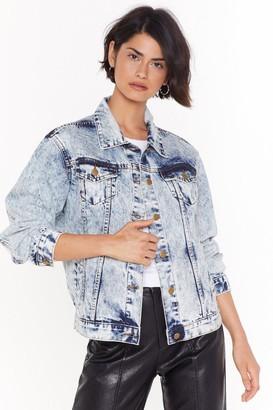 Nasty Gal Womens Say What You Jean Acid Wash Denim Jacket - Blue - 6