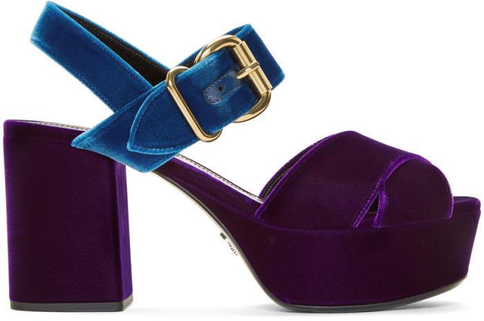 Prada Purple Velvet Criss-Cross Sandals