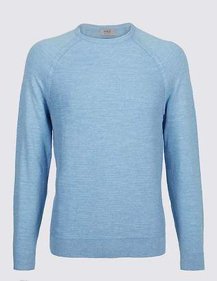 Marks and Spencer Pure Cotton Slub Crew Neck Jumper
