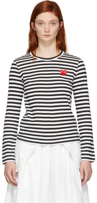 Comme des Garcons Black and White Striped Heart Patch T-Shirt
