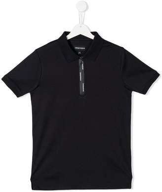 Emporio Armani Kids zipped neck polo shirt