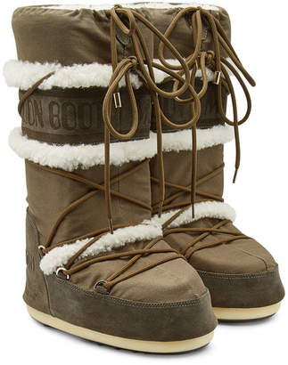Yves Salomon X Moon Boot Suede Classic Moonboots with Shearling