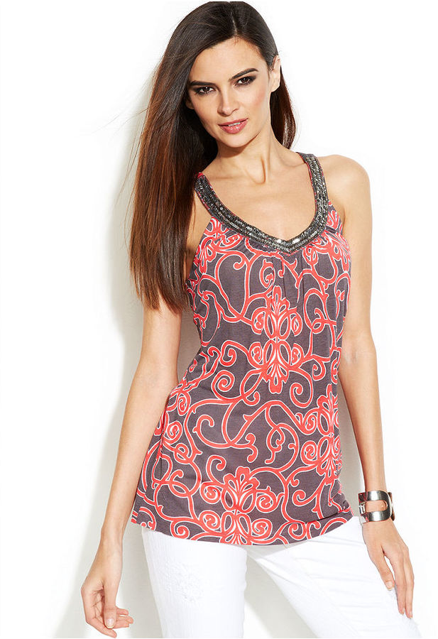 INC International Concepts Petite Sequin-Embellished Printed Tank Top