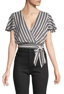 Striped Self-Tie Cropped Top