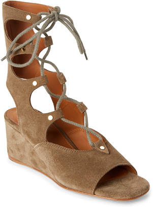 Chloé Military Green Foster Lace-Up Wedge Sandals