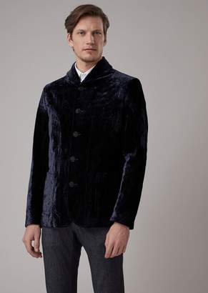 Giorgio Armani Slim-Fit Flocked Panne Jacket With Shawl Collar
