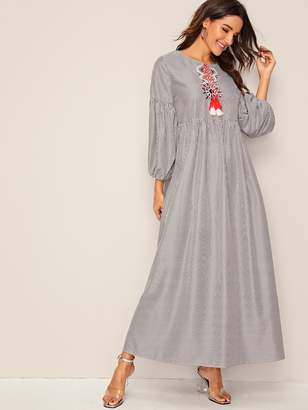 Shein Embroidery Front Lantern Sleeve Striped Hijab Peasant Dress