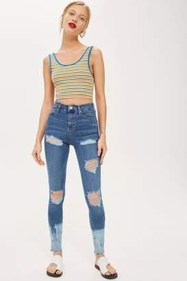 Topshop MOTO Tie Dye Hem Super Ripped Jeans