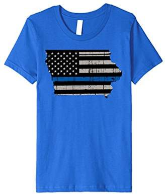 Support Law Enforcement Iowa Police Officers Blue T-Shirt
