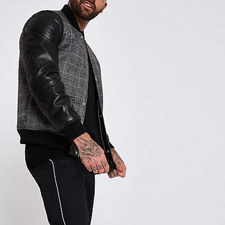 River Island Black check faux leather sleeve bomber jacket