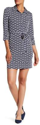Donna Morgan Printed Spread Collar Jersey Shirt Dress $118 thestylecure.com
