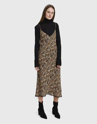 Collina Strada Barbarella Lace Trim Leopard Print Dress