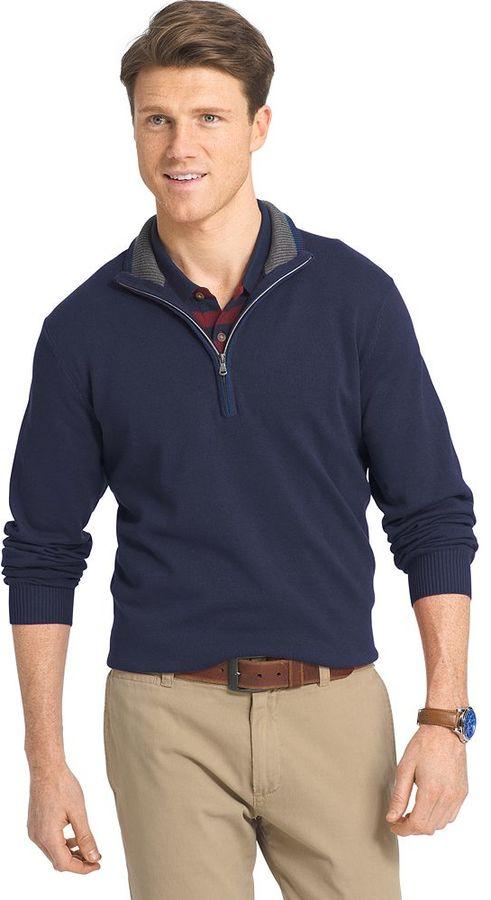 Men's IZOD Classic-Fit 12gg Solid Quarter-Zip Pullover Sweater