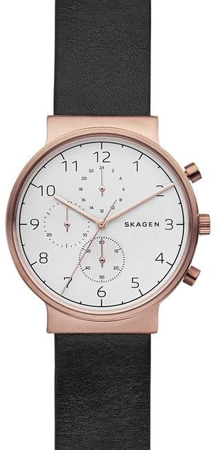 Skagen Men's Ancher Multifunction Leather Strap Watch, 40mm