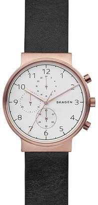 Skagen Men's Ancher Leather Strap Watch, 40mm
