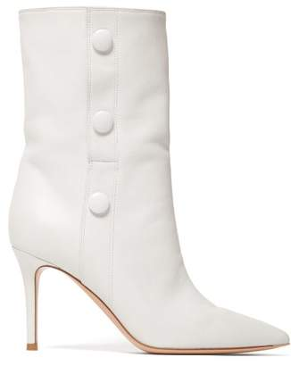 Gianvito Rossi Button Embellished 85 Leather Ankle Boots - Womens - White